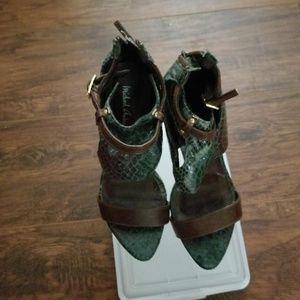 Michael Antonio Green and Brown Snakeskin Heels